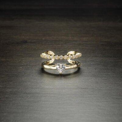 Anel Circular Duplo Cristal Coração Ouro Amarelo 18K