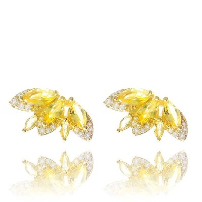 Brinco B.Fly Cristal Cor Quartzo Amarelo Ouro Amarelo 18K