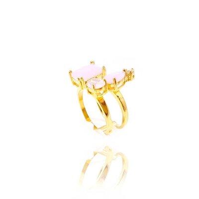 Anel Glamouer Cristal Rose Ouro Amarelo 18K