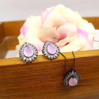 Colar Patagônia Gota Cristal Rose Black Rhodium