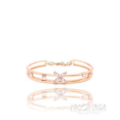 Bracelete Lecler Flor com Zircônias Ouro Rose