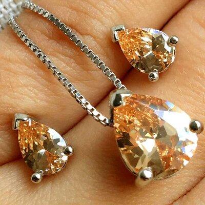 Colar Gota Three com Cristal Cor Citrino Ouro Branco