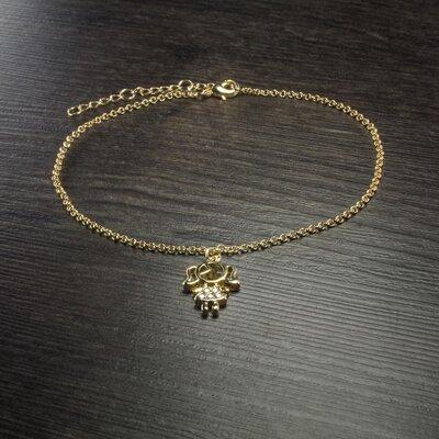 Tornozeleira Menina cravejada Ouro Amarelo 18K