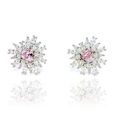 Brinco Scarlate com Cristal Topázio Rosa Imperial e Ouro Branco