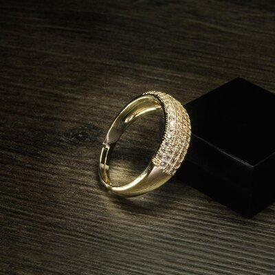 Anel Pavê Five Ouro Amarelo 18K