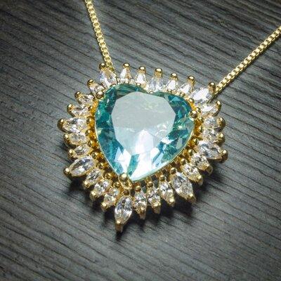 Colar Big Heart Cristal Light Blue com Zircônias Ouro Amarelo 18K