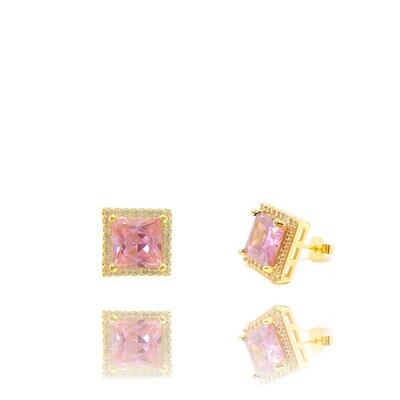 Brinco Agatha com Cristal Cor Topázio Rosa Imperial Ouro Amarelo 18K