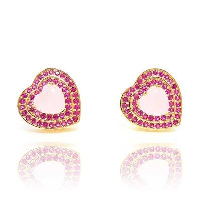 Brinco Coração Big Heart com Cristal Rose e Micro Rose Indiano Ouro Amarelo 18K