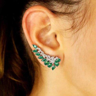 Brinco Tracy Ear Cuff Cristal Cor Turmalina Verde em Ouro Branco