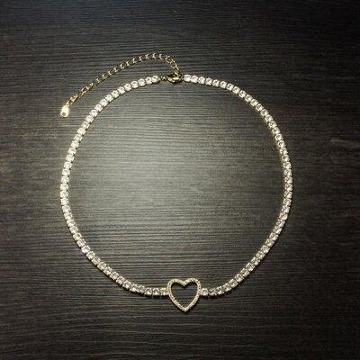Colar Choker Heart Ouro Amarelo 18K