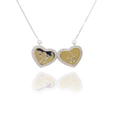 Colar Coração Duplo Meninos com Micro Zircônias Ouro Branco