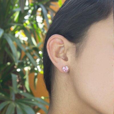 Brinco Coração Cristal Topázio Rosa Imperial Ouro Branco