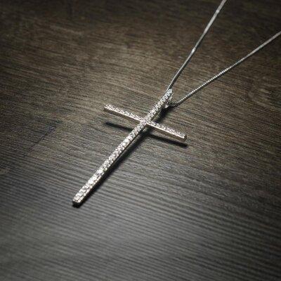 Colar Crucifixo Fé Cravejado Ouro Branco