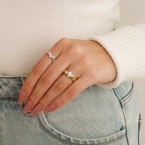 Conjunto De Anéis Solitário Elegance Dourado Com Anel Elisa Dourado