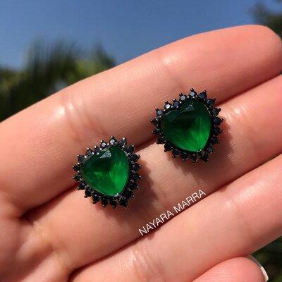 Brinco Em Prata Coração Mila Ródio Negro e Jade