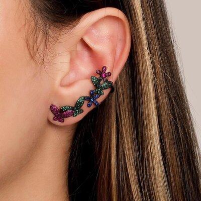Brinco Ear Cuff Ródio Negro Borboletas Coloridas
