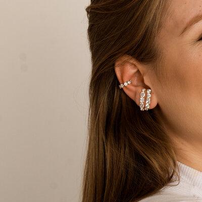 Brinco Ear Hook Em Prata Diana Dourado