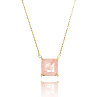 Colar De Prata Quadradinho Rosa Quartzo Dourado Fusion
