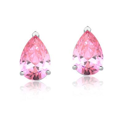 Brinco Em Prata Gota Rosa Cristal