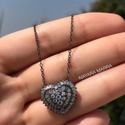 Colar Em Prata Coração Baguete Ródio Negro
