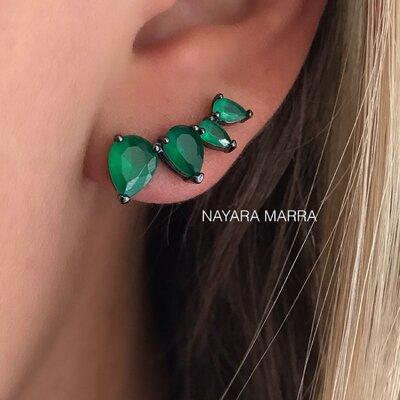 Brinco Em Prata Ear Cuff Gotinha Ródio Negro e Jade