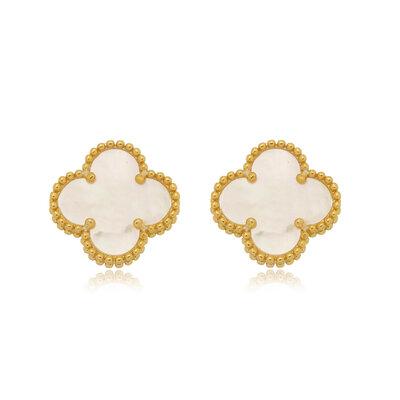 Brinco Em Prata Eloise Madrepérola Dourado