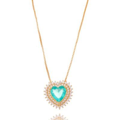 Colar Coração Caribe Dourado E Turmalina Cristal