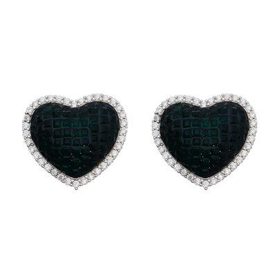 Brinco Cravação Invisível Coração Verde Ródio