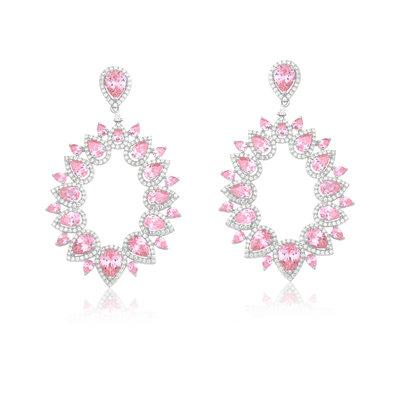 Brinco Em prata talent quartzo rosa cristal