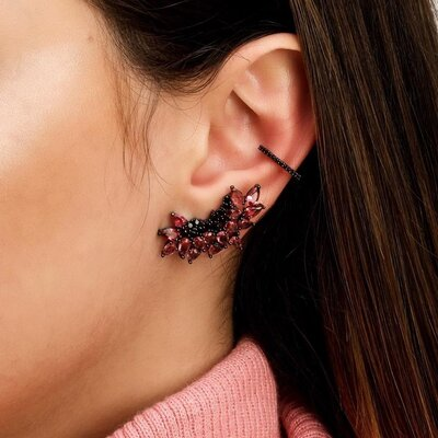 Brinco Em Prata Ear Cuff Ródio Negro Isis Rosa