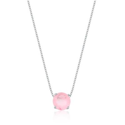 Colar Em Prata Ponto De Luz Quartzo Rosa Fusion