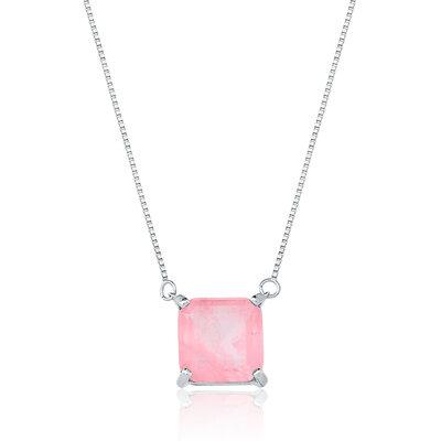 Colar Em Prata Quadradinho Ródio Quartzo Rosa Fusion