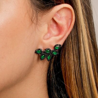 Brinco Em Prata Ear Cuff Ródio Negro Vic Jade Verde