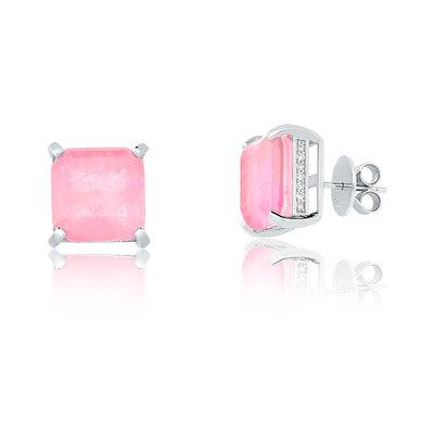 Brinco Em Prata Quadradinho Quartzo Rosa Fusion Ródio