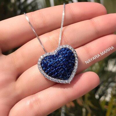 Colar Cravação Invisível Coração Safira Ródio