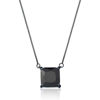 Colar Em Prata Quadradinho Ródio Negro E Ônix Preta