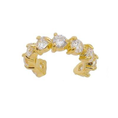 Brinco Piercing Fake Grace Cristal Dourado