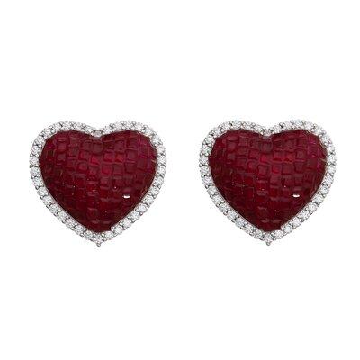 Brinco Cravação Invisível Coração Rubi Ródio