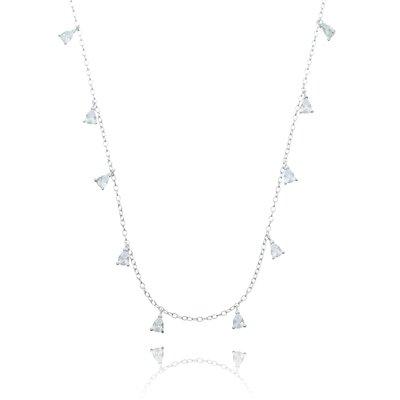 Colar Em Prata Ródio Gotinhas Mini Cristal Nay