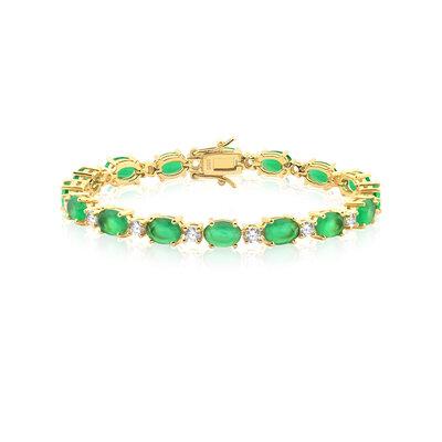 Pulseira Em Prata Riviera Oval Dourado Jade Verde e Cristal