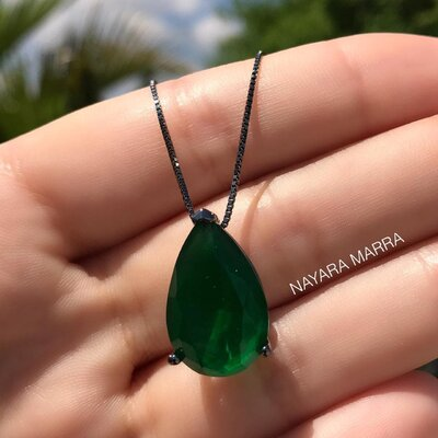 Colar Em Prata Gota M Jade Verde Ródio Negro