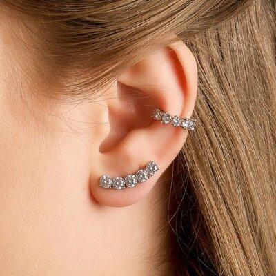 EAR CUFF DE PRATA GRACE CRISTAL