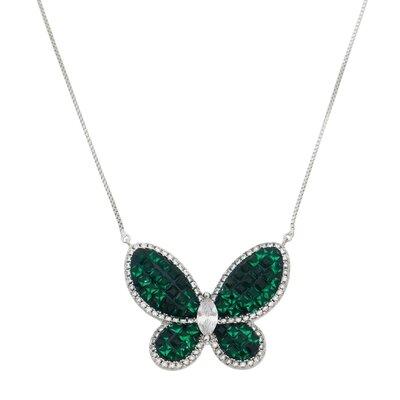 Colar Cravação Invisível Borboleta Ródio E Jade Verde