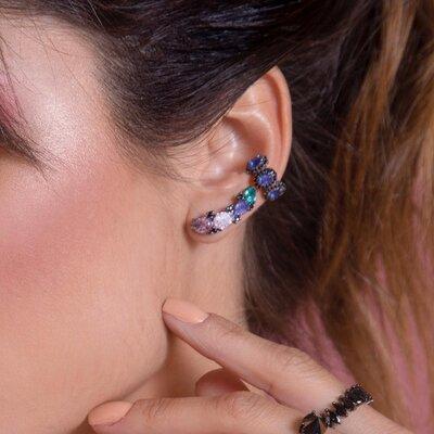 Ear Cuff Gota Ródio Negro Multicolor