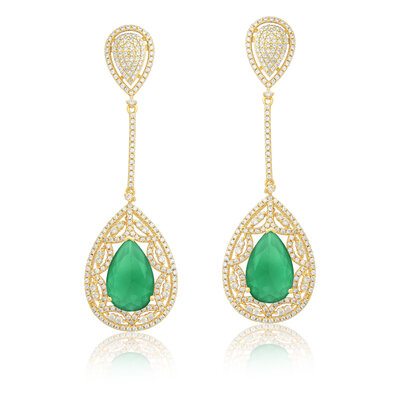 Brinco Em Prata Lemi Dourado e Jade