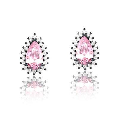 Brinco Em Prata Gota Lady Ródio Negro e Quartzo Rosa Cristal
