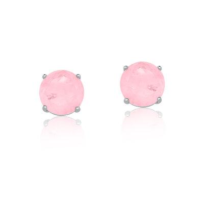 Brinco Em Prata Ponto de Luz M Quartzo Rosa Fusion
