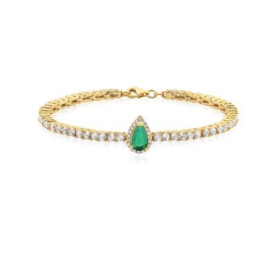 Pulseira Em Prata Gotinha Dourado Jade Verde e Cristal