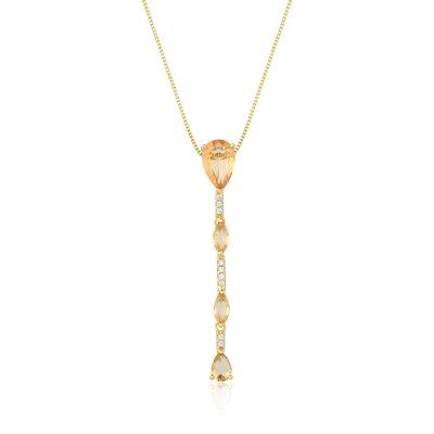 Colar Em Prata Gravatinha Elisa Morganita Dourado
