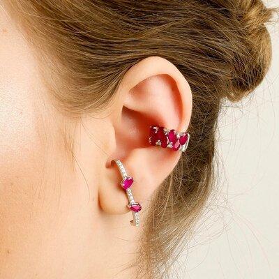 Brinco Ear Hook Em Prata Elisa Rubi